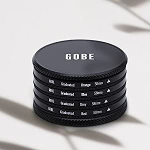 Gobe Graduated Colour 55mm Filters: Orange Blue Grey Green Yellow Red