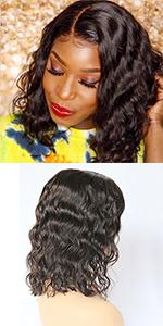 human hair wig lace front wig bob wig short wig black woman virgin hair remy hair brazilian hair