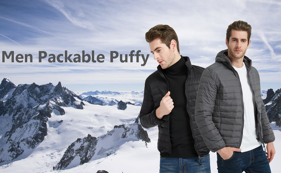 men packable puffy