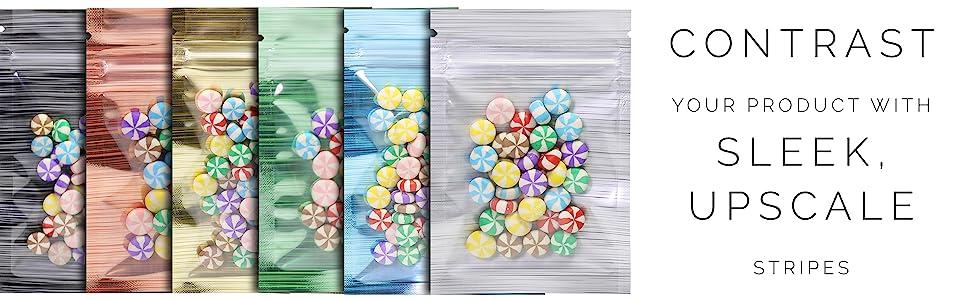 striped mylar foil window bags