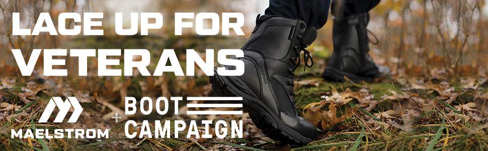 """Tac Althon 8"""" Waterproof boot walking with Boot Campaign partnership information"""