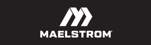 Maelstrom Logo in White on Black Background