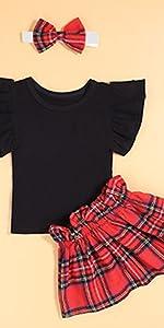 baby girl red plaid skirt set
