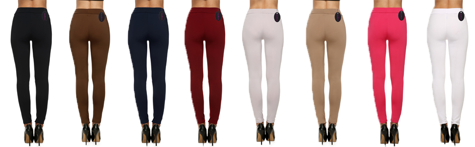 Avidlove Women Full Length Trousers Stretch Waist Leggings Skinny Pencil Pants Thick Solid Color