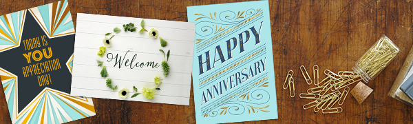 employee appreciation card, work anniversary cards, welcome cards, business greeting cards