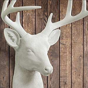 Mini Faux White Deer Head Detailed