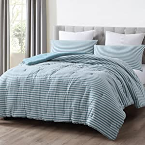 Striped Jersey Knit Comforter Set Nile Blue/Gray