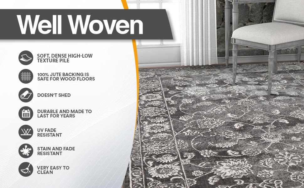 Well Woven Primavera Soft Low Microfiber High-Low Texture Pile Area Rug Carpet