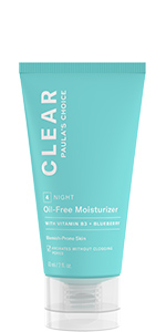 CLEAR Oil-Free Night Moisturizer hydrates breakout-prone skin without adding oil.