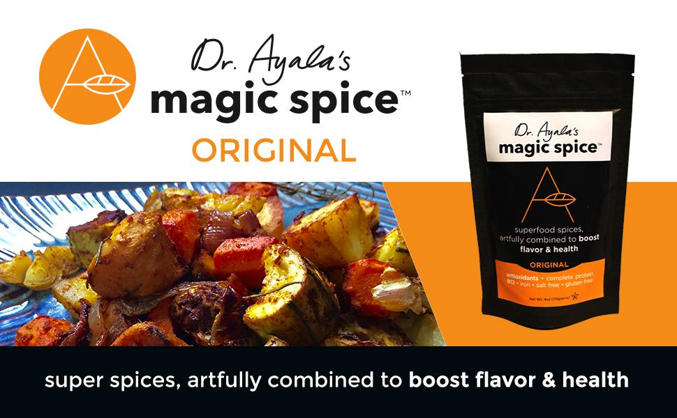Superfood, Magic Spice, Nutritional Yeast, Turmeric, original, Dr. Ayala, umami, seasoning, vegan