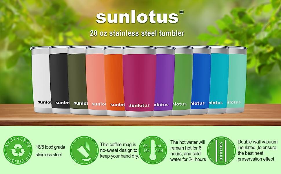 Sunlotus 20 Oz Stainless Steel Tumbler Double Wall Vacuum Insulated Travel Coffee Mug Cup With Splash Proof Lid Straw Handle Straws Brush Gift Box 20 Flesh Pink