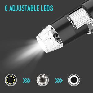 8 adjustable leds
