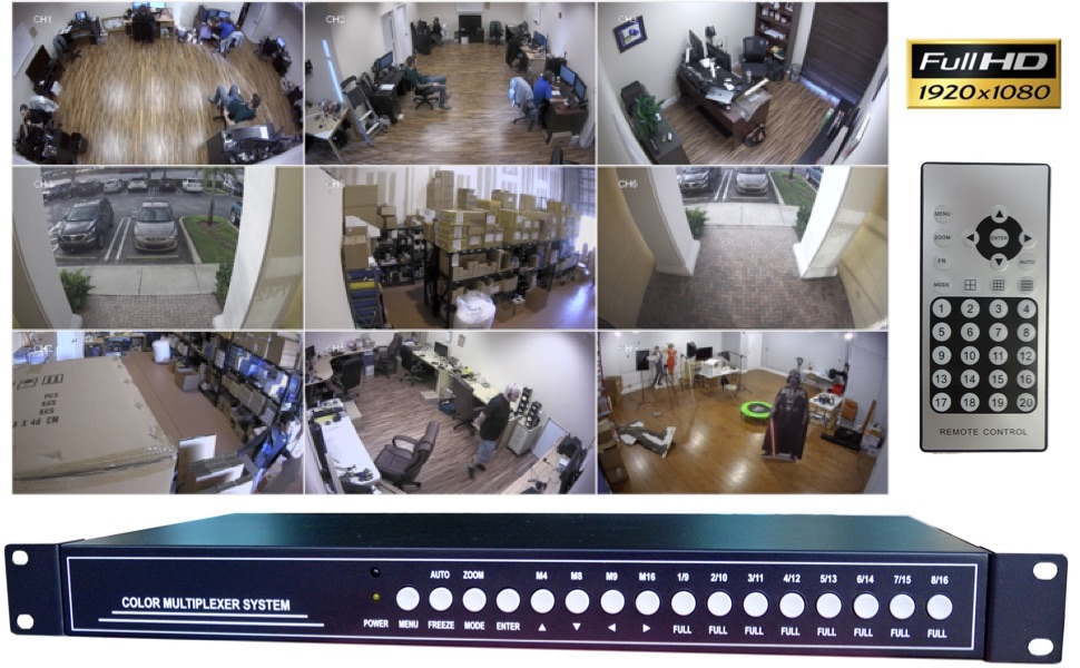 CCTV Camera Pros Video Multiplexer HD Multiplexer Video Processor Color Multiplexer System VM-HD16