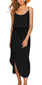 Women's Summer Dress Adjustable Spaghetti Strap Split Beach Casual Midi Dress