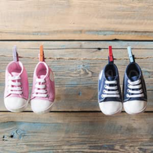 canvas baby sneakers pink and blue