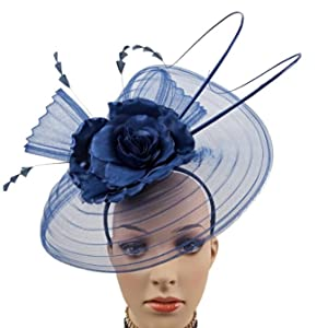 Royal Blue Mesh Cover Face with Big Flowers Loops 2 Long Quills and Fancy Cut Feathers Fascinators