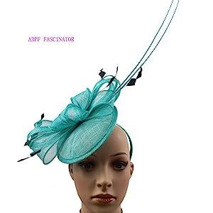 Turqurise Elegant Saucer Sinamay Headband Fascinator  Sinamay Leaves 2 long Quills Fancy Feathers