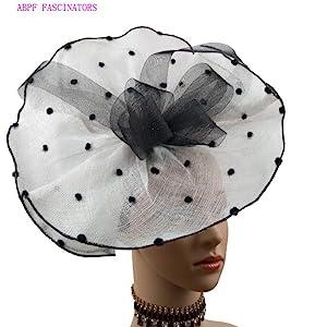 White & Black Polka Dots Bow Fascinators