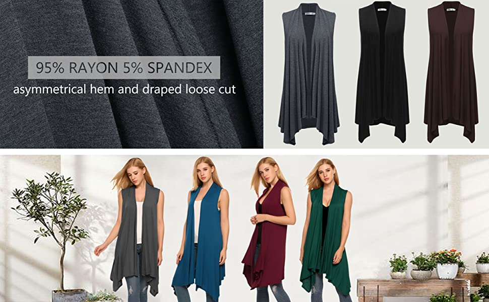 Meaneor Women's Sleeveless Solid Color Asymetric Hem Open Front Cardigan Top