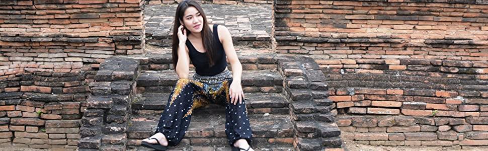 black harem pants peacock excersize pants hippie pants loose fitting boho pants bohemian aladdin
