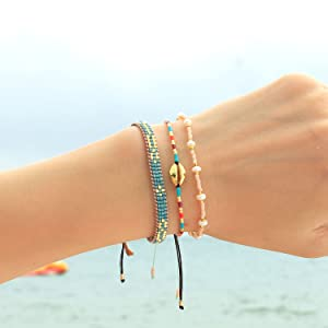 beach bracelet woven bracelet handmade braided bracelets friendship bracelets beaded bracelets women