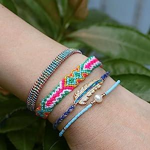 string bracelets strand woven bracelet bohemian bracelet handmade braided bracelet women gifts
