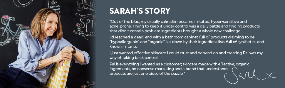 Sarah's story - new image blackboard. About us.