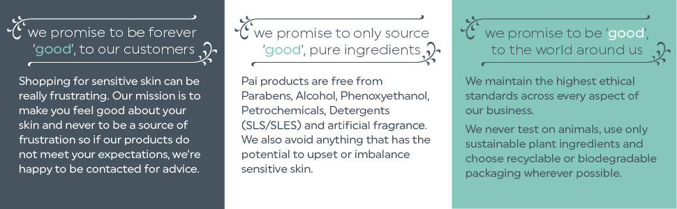 Pai Promises banner, good to customers, pure ingredients, good to the world around us. Squares