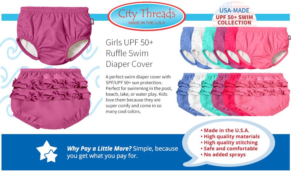 Girls UPF 50+ Ruffle Swim Diaper Cover Lined