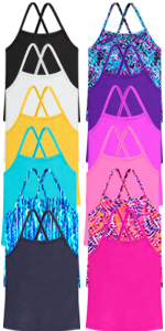 Girls criss cross swim tankini outdoor summer active light colorful swim shirt sunsuit bottom tops