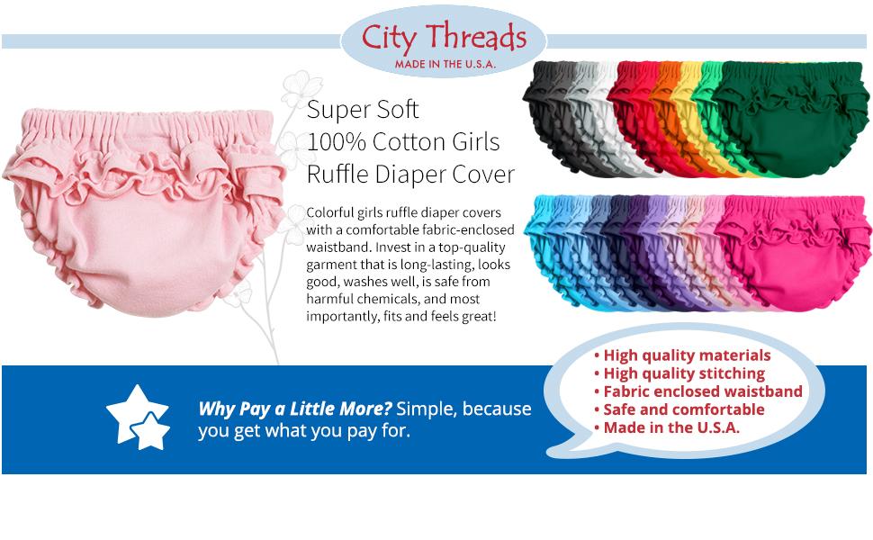 soft cotton girls ruffle diaper cover