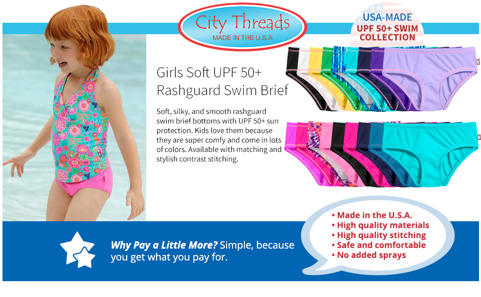 girls soft UPF 50+ rashguard swim brief SPD sensory processing disorder autistic skin cooling wicki
