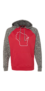 Mens Colorblock Wisconsin Home Hooded Sweatshirt