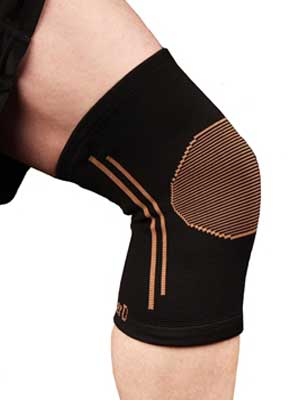 copper compression knee brace sleeve pain relief comfortable blue black grey gold dots stripes for