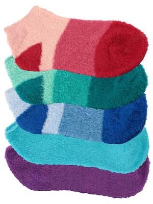 nylon socks infused aloe fuzzy soft warm home cute comfy comfortable red aqua blue purple