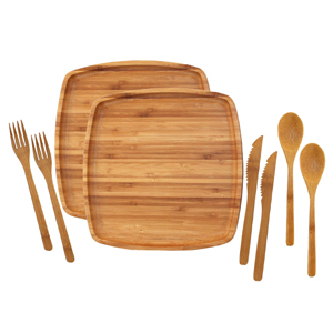 bamboo camp mess kit set camping backpacking plate spoon knife fork wood wooden
