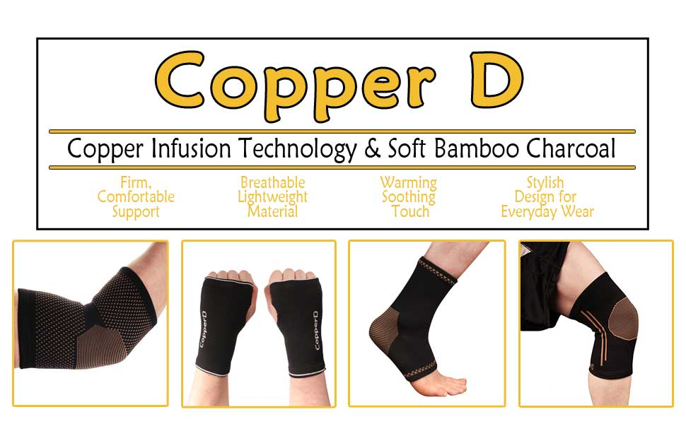 copper d infused elbow hand wrist glove ankle compression knee sleeve brace pain relief bamboo