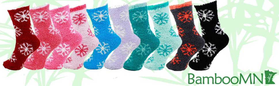 Fuzzy Snowflake Slipper Socks