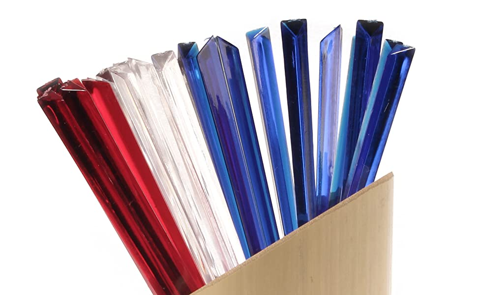 BambooMN acrylic triangular triangle prism food drinks cocktail picks skewers red white blue colors