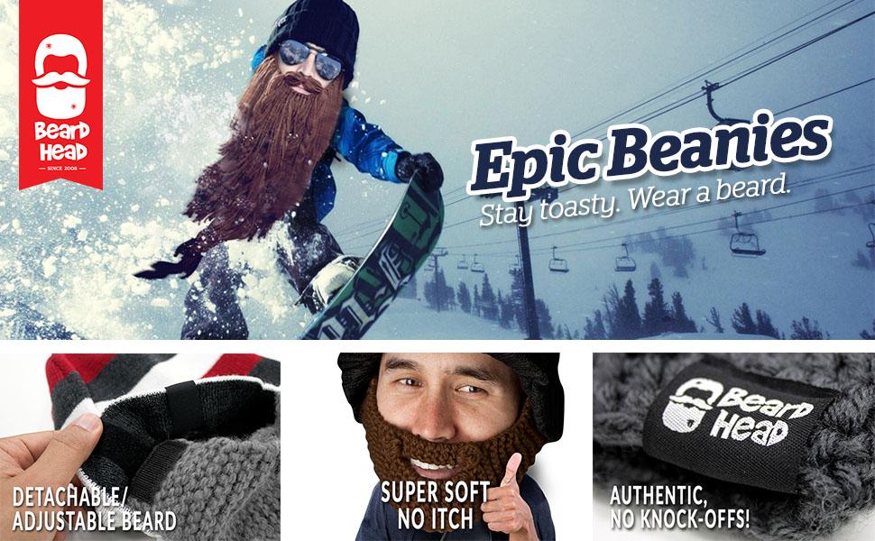 beard beanie hat costume fake mustache knit ski snowboard gift crazy silly christmas winter