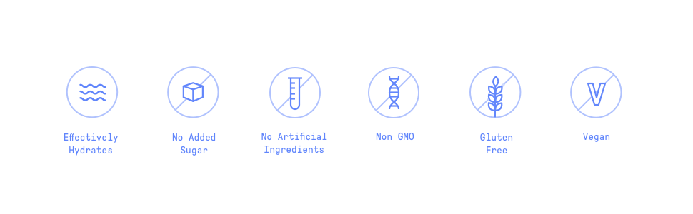 Effectively hydrates, no added sugar, no artificial ingredients, Non-GMO, Gluten-Free, Vegan