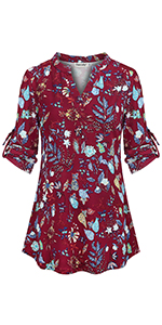 floral tunic tops for women 3/4 sleeve