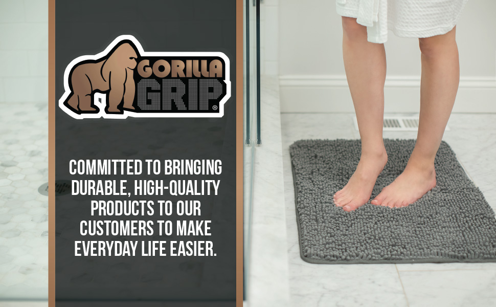 gorilla grip brand brands branding logo tagline bath rug chenille bathroom rugs collection soft