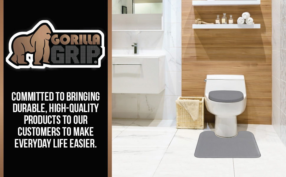 bathroom floors include memory foam toilet lid seat cover and thick bath rug contoured for toilet
