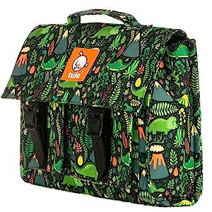 Baby Tula Boy Kids Backpack, Hot Lava, Green, Dinosaurs, Volcanos