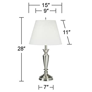 Brushed Steel Table Lamp Set of 2