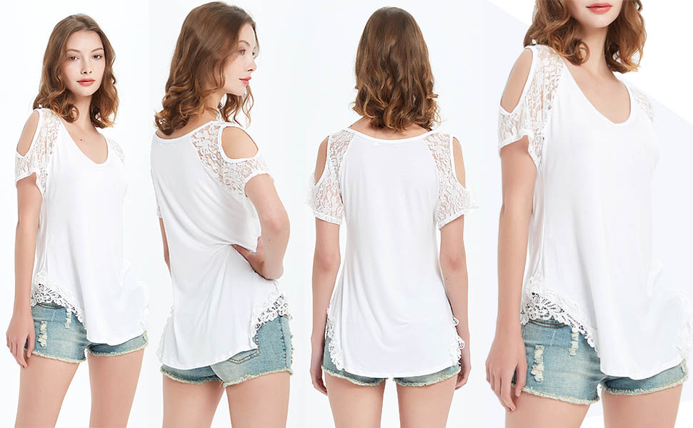 Womens Short Sleeve Lace Shirt Cold Shoulder V Neck Knit Basic Casual Tops Tees