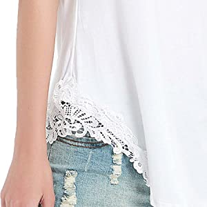 Lace Crochet Side Shirt Tops