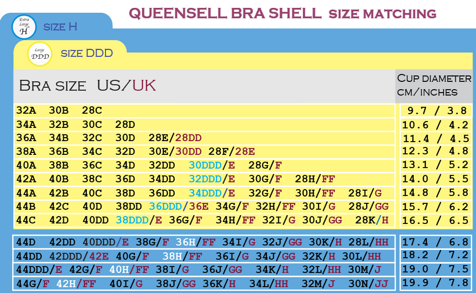 bra size chart