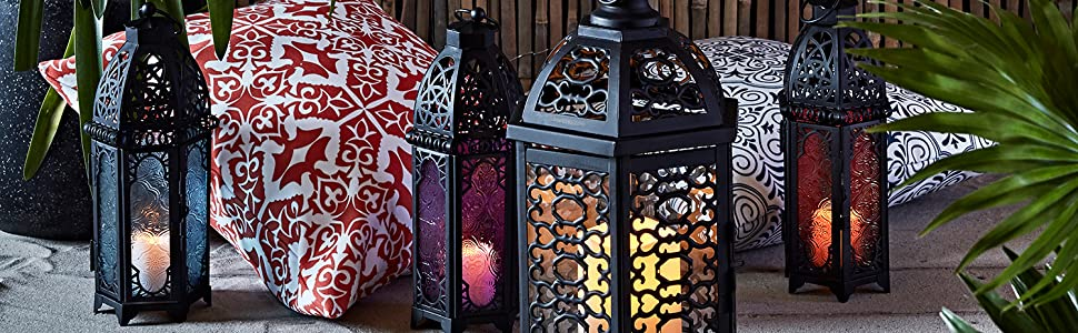Lights4fun Trio of Black Metal Moroccan Indoor Battery Operated LED Flameless Candle Lanterns with Colored Glass Inc